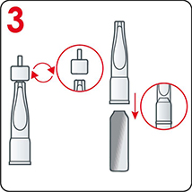 Insert the plastic applicator to the open ampoule