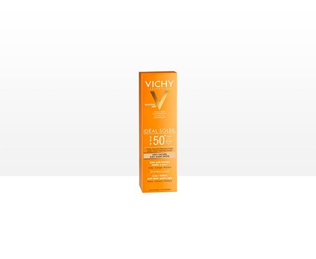 ideal-soleil-anti-spot-spf-50-obojena-zastitna-krema; vichy-3u1; protiv-tamnih-mrlja; zastita-od-sunca; krema-za-suncanje; visoka-zastita; protiv-sunca; zastitni-faktor; nemasna-njega; brzo-upijanje; nepravilnosti; hiperpigmentacija; alergija-na-sunce