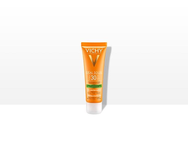 ideal-soleil-anti-acne-spf-30-vichy-krema; korektivna-njega-protiv-nepravilnosti; matirajuca-njega; za-sunce; protiv-sunca; zastita-od-sunca; zastitni-faktor; masna-koza; za-masnu-kozu; koza-sklona-aknama; mrlje-od-sunca; hiperpigmentacija; masni-sjaj-kontrola